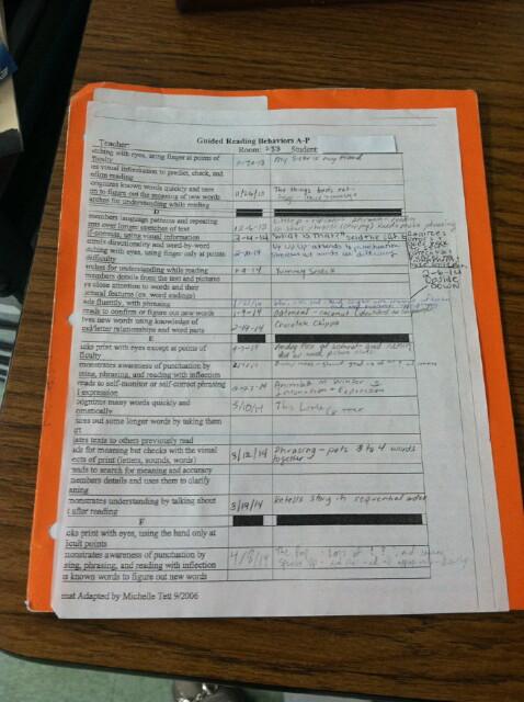 Reading Behaviors Chart Example - Jesse's Student Teaching